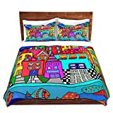 Duvet Cover Brushed Twill Twin, Queen, King SETs DiaNoche Designs Dora Ficher - Window Boxes