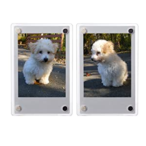 FoRapid 2 PCS 3-inch 2-Sided Clear Acrylic Refrigerator Magnetic Photo Frame-Elegant Frameless Display Fujifilm Instax Mini 9 8 8+ 70 7s 90 25 26 50s Film/Cards/Memos/HP Pocket Photo Paper/2x3 Photo
