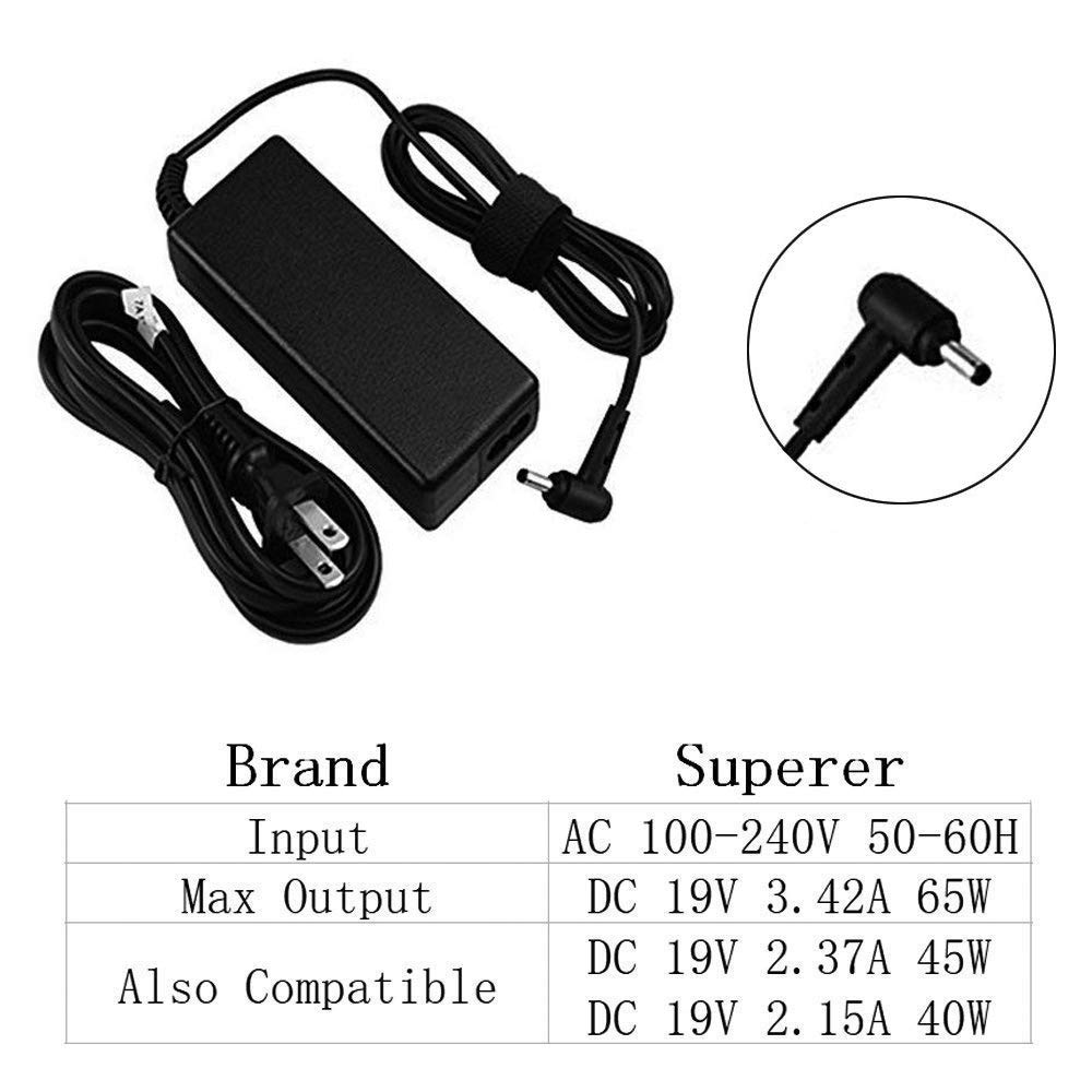 AC Charger Compatible Toshiba Satellite C50 C55 C55D C75 C75D C655 C655D C675 C850 C855 C855D C875 L55 L55D L755 L655 L745 L775 L855 S55 P50 P50T P755 A665 A505 A205 Laptop Power Supply Adpater Cord by Superer (Image #3)