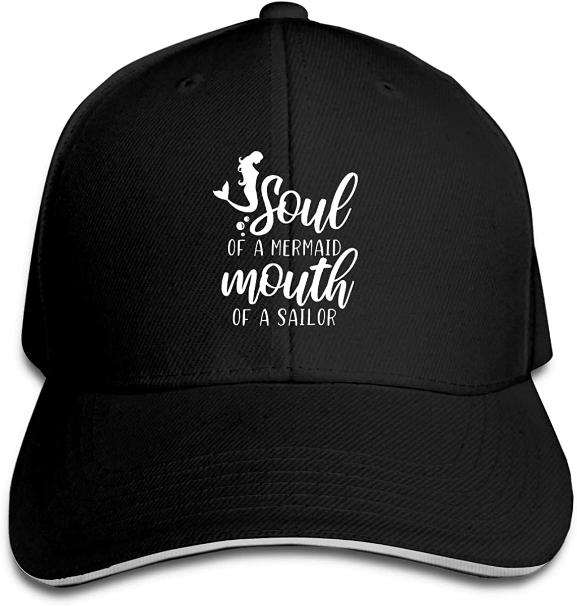 Soul of Mermaid Mouth of Sailor Logo Classic Adjustable Cotton Baseball Caps Trucker Driver Hat Outdoor Cap Black