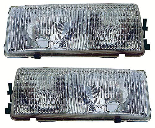 For 1991 1992 1993 1994 1995 1996 Chevrolet Chevy Caprice | Buick Roadmaster Wagon | Oldsmobile Custom Cruiser Headlights Headlamps Driver Left and Passenger Right Side Pair Set Replacement