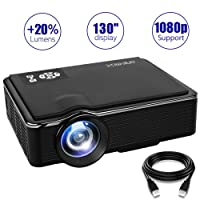 Proyector, ONE-MIX Led Mini Proyector 1080p apoyado, 2400 Lumens HD Video Proyectores Portatil, Compatible con Home Cinema / Laptop / DVD / Game / TV / Exterior Peliculas / HDMI / VGA / AV / USB/ Tarjeta TF (Negro)