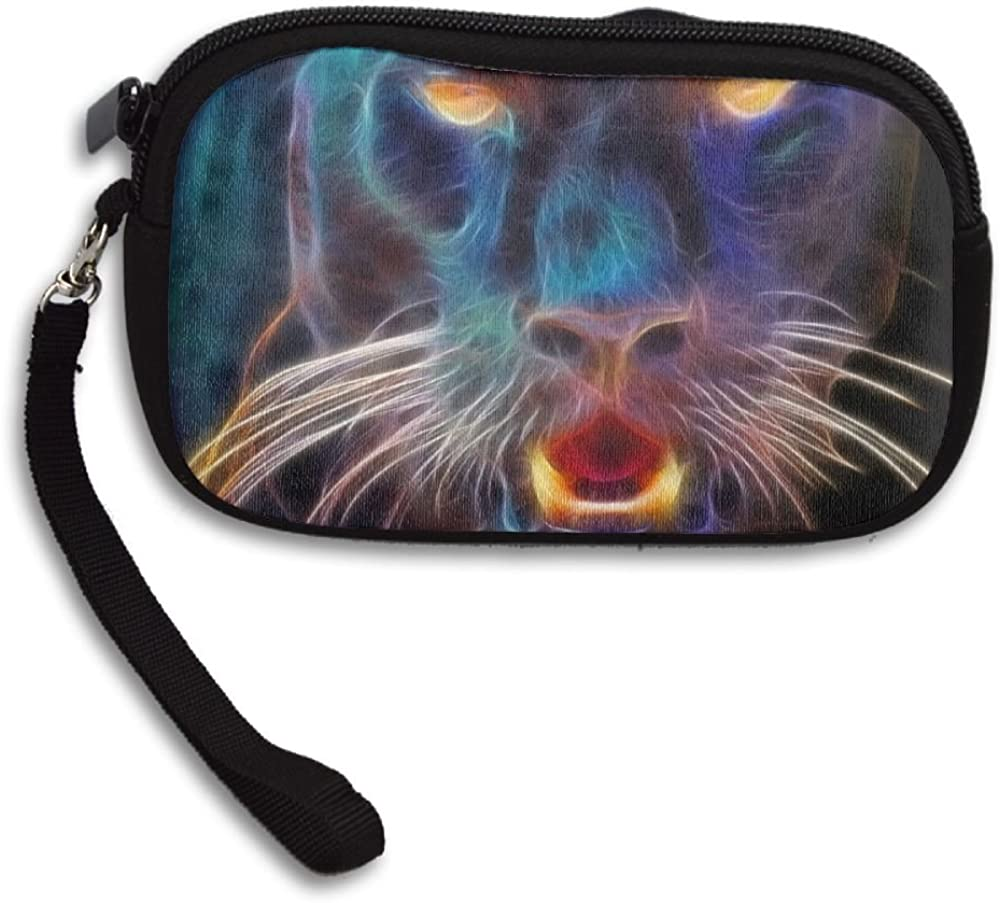 Animal Black Panther Abstract Deluxe Printing Small Purse Portable Receiving Bag
