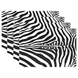 WOZO animal skin zebra print Placemat Table Mat 12'' x 18'' Polyester Table Place Mat for Kitchen Dining Room Set of 4