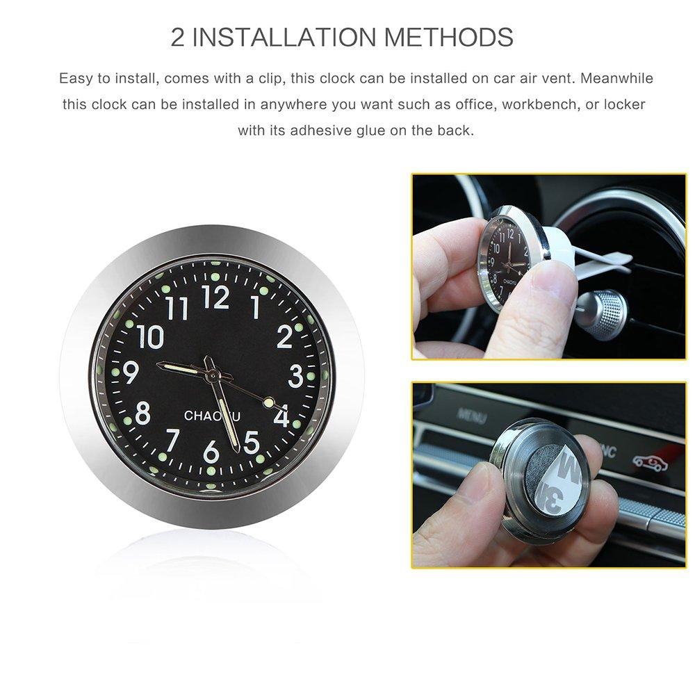 1.7 Diameter ONEVER Car Clock Car Air Vent Quartz Clock Mini Vehicle Dashboard Clock