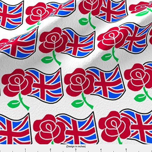 Spoonflower Red Rose Fabric Rose And The Union Jack Flag by