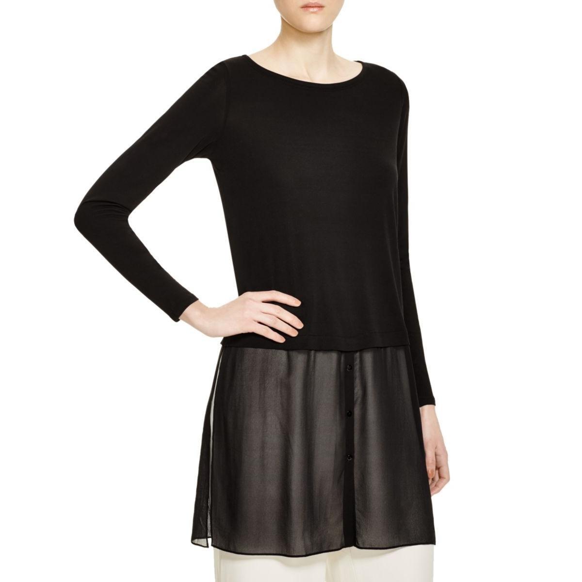 Eileen Fisher Womens Chiffon Hem Bateau Neck Pullover Top Black S