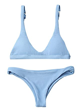 ca14fa20d1 Amazon.com: ZAFUL Women Padded Scoop 2 PCS Bikini Swimsuit V Thong Brazilian  Bottom Bra Set: Clothing