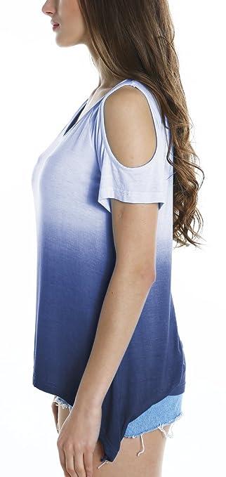 Urban GoCo Camisas Fuera del Hombro Blusa Color Degradado Camiseta Moda para Mujer: Amazon.es: Ropa y accesorios