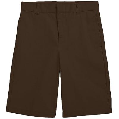 French Toast School Uniform Boys Flat Front Adjustable Waist Shorts, Brown, 20