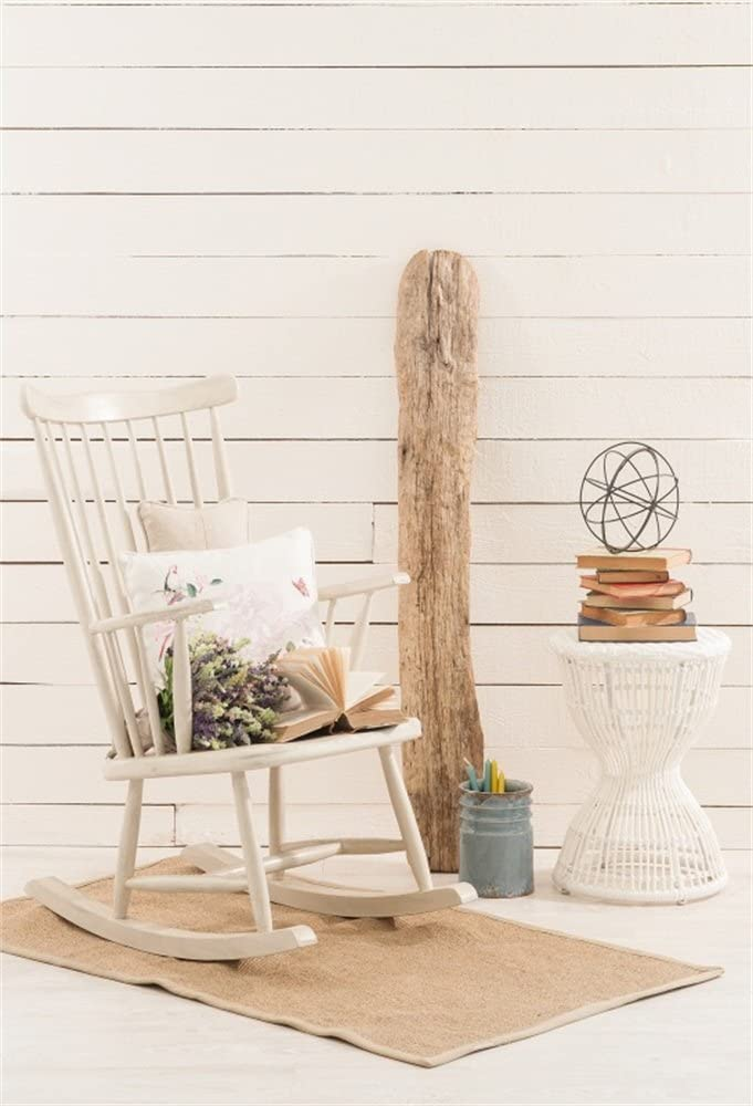 Laeacco 5x7ft Vinyl Photography Backdrop Interior White Chair Wood ...