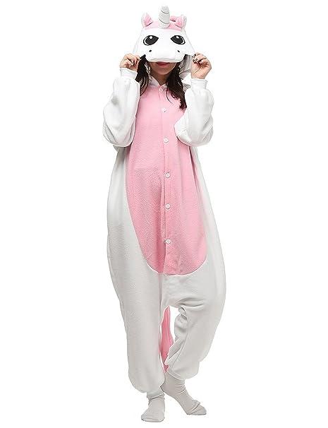 Unicornio PYJAMAS Disfraz Jumpsuit – Carnaval Cosplay Animales Dormir Traje Onesize adultos unisex Rosa L