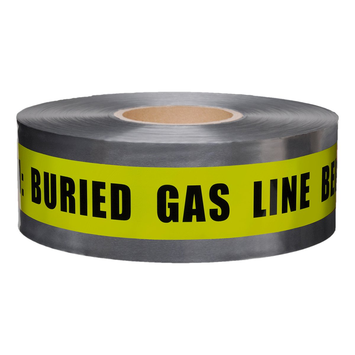 Presco Underground Detectable Warning Tape: 3 in. x 333.3 yds. (Yellow with Black''CAUTION: BURIED GAS LINE BELOW'' printing)