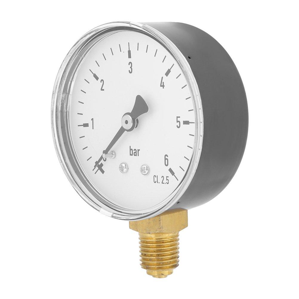 Air Compressor Pressure//Hydraulic Gauge 0-6 bar Side Mount Manometer 1//4 NPT Metal Pressure Gauge