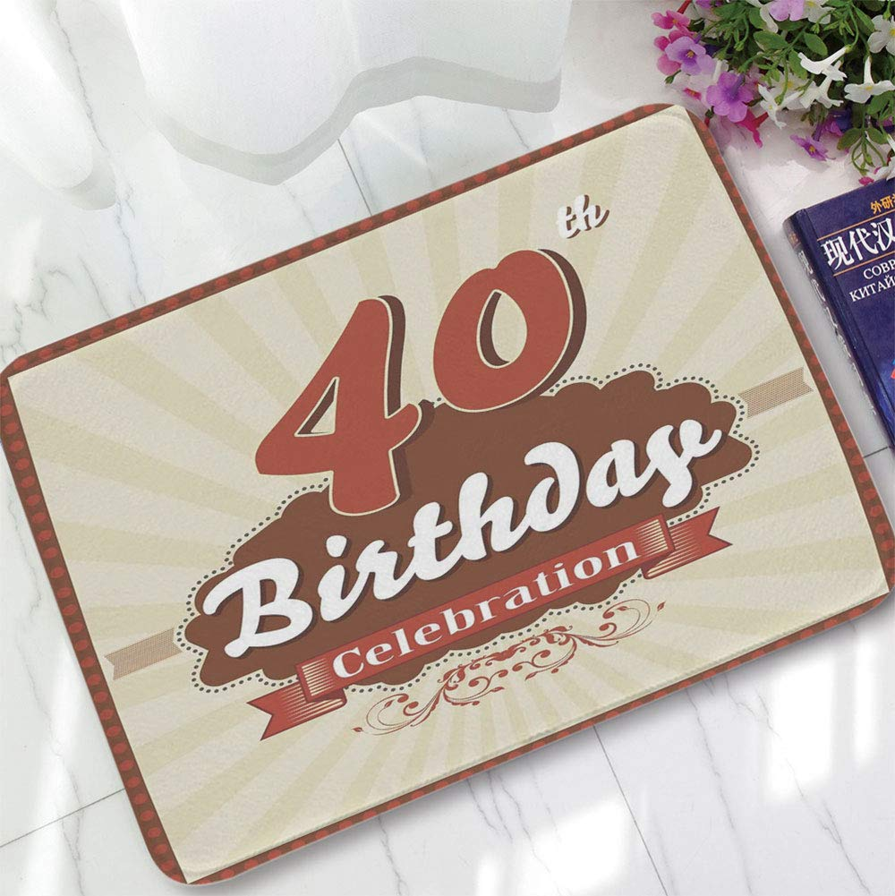 YOLIYANA Non-Slip Mat,40th Birthday Decorations,for Bathroom Kitchen Bedroom,15.75''x23.62'',Vintage Old Fashion Style Celebration Banner