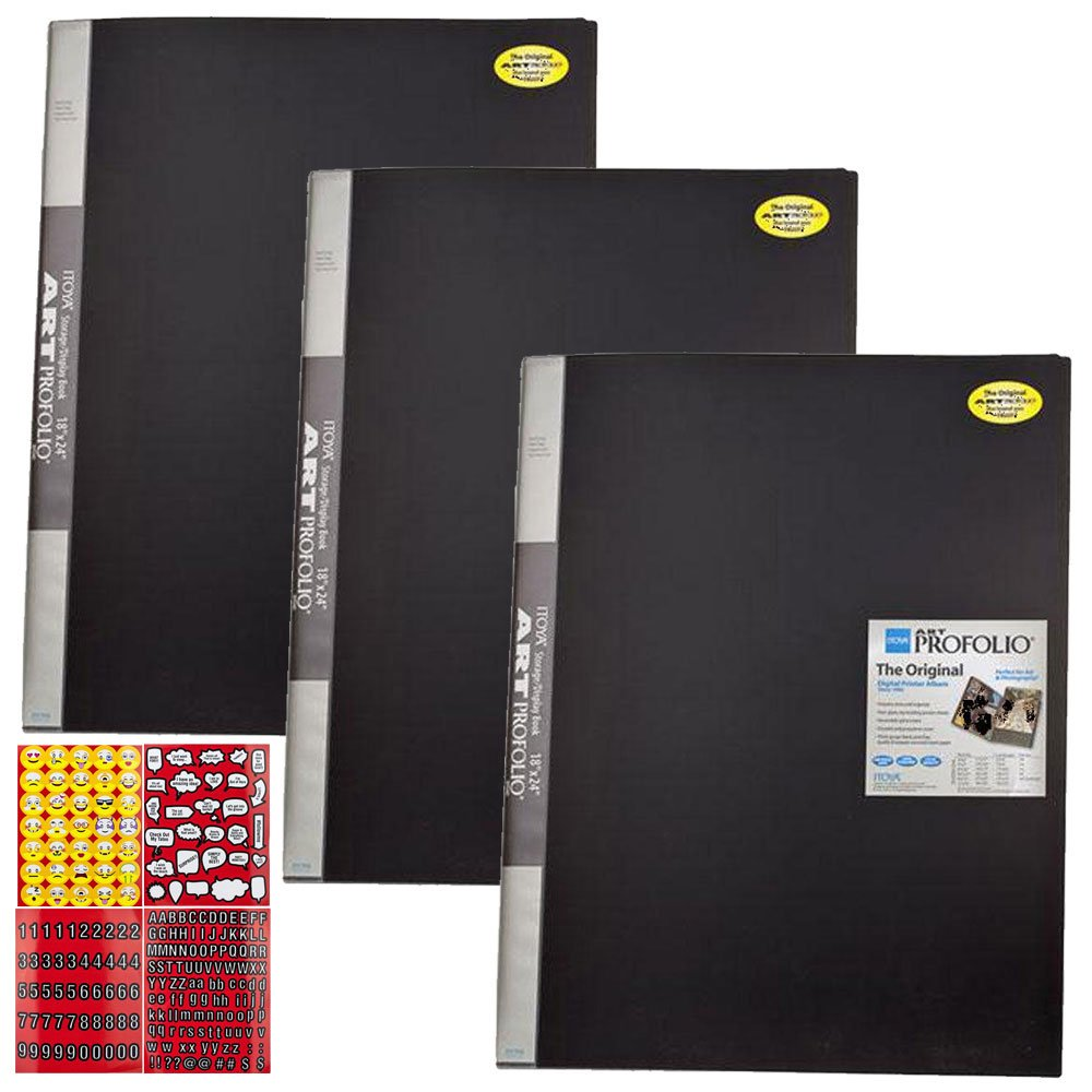 ITOYA 18 inch x 24 inch Original Art Profolio Presentation Book/Portfolio- for Art, Photography, and Documents - Pack of 3 + Scrapbooking Stickers 4 Pages of Emojis, Quotes, Letters & Numbers by ITOYA