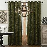 KoTing Velvet Curtain Forest Green Drape 1 Panel Gorgeous Velvet Room Darkening Curtain Grommet Top Drape 96 inch Length