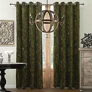 Forest green velvet curtains drapes koting 1 for Forest green curtains drapes