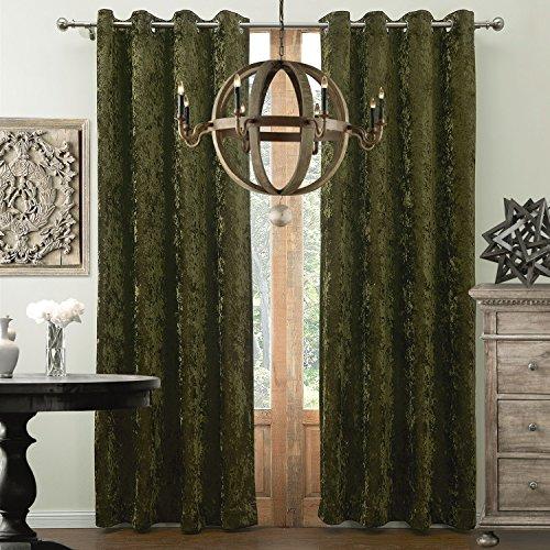 KoTing Velvet Curtain Forest Green Drape 1 Panel Gorgeous Velvet Room Darkening Curtain Grommet Top Drape 100 inch Length