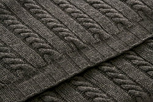 Handmade Classic Style 100% Merino Wool 70' X 55' Throw Blanket Made in Ireland Color Ecru (Charcoal)