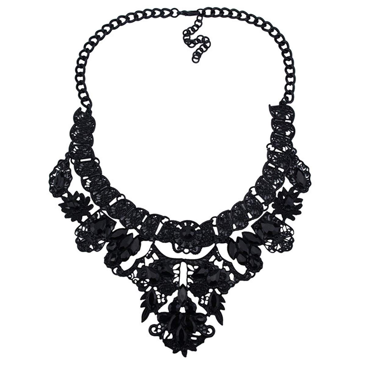 KTYX Europe and America Diamond Black Short Necklace Personality Wild 52+79.5cm Jewelry