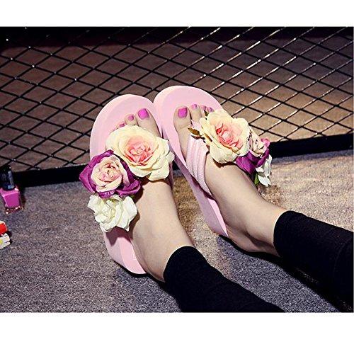 Scothen Mensaje del dedo del pie sandalias para la flor de zapatos de playa tirón de las mujeres fracasos zapatillas sandalias de deslizamiento de vacaciones de verano sandalias romanas sandalias Pink