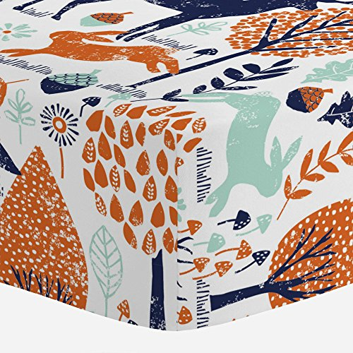 Carousel-Designs-Navy-and-Orange-Woodland-Animals-Crib-Sheet-Organic-100-Cotton-Fitted-Crib-Sheet-Made-in-the-USA