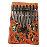WANDIC Kalimba Mbira Sanza 17 Keys Thumb Piano Portable Beginners Friendly Solid Finger Piano Mahogany Body Ore Metal Tines with Painted Colorful Feather