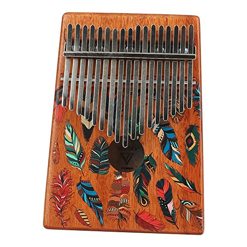 WANDIC Kalimba Mbira Sanza 17 Keys Thumb Piano Portable Beginners Friendly Solid Finger Piano Mahogany Body Ore Metal Tines with Painted Colorful Feather by WANDIC