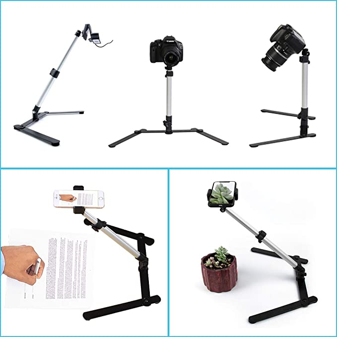 Trípode ajustable para cámara web con soporte para teléfono móvil ...