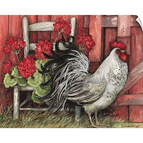 CANVAS ON DEMAND Red Barn Rooster Wall Peel Art Print, 48