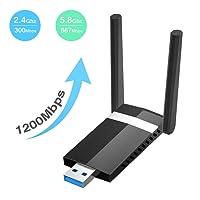 Wlan Adapter SoataSoa Wifi Adapter USB 3.0 Wifi Stick AC1200 Wireless Dual Band (2.4GHz 300Mbps + 5.8GHz 867Mbps) ,Support 802.11ac,802.11a/b/g/n/ Wireless USB Wifi Dongle Wlan stick kompatibel mit Windows 7/8//10/XP/Vista,Linux 2.6,Mac OS X10.4-10.11