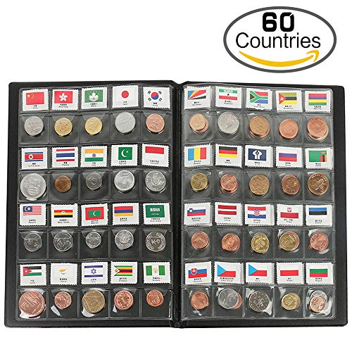 zcccom Classic Gifts 60 Countries Coins Collection Starter Kit Authentic Coins 100% Original Genuine World Coin with Leather Collecting Album Taged by Country Name 295 Flag (60 Countries Coins) by zcccom