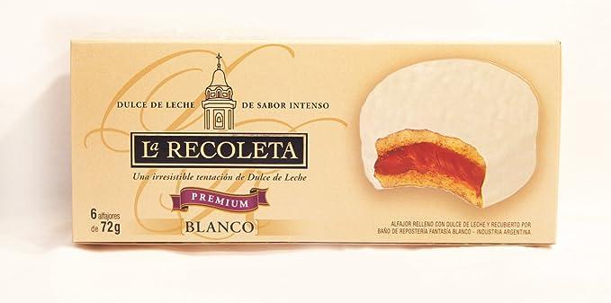 Alfajores rellenos de dulce de leche y Bañados en Chocolate Blanco. LA RECOLETA Premium.