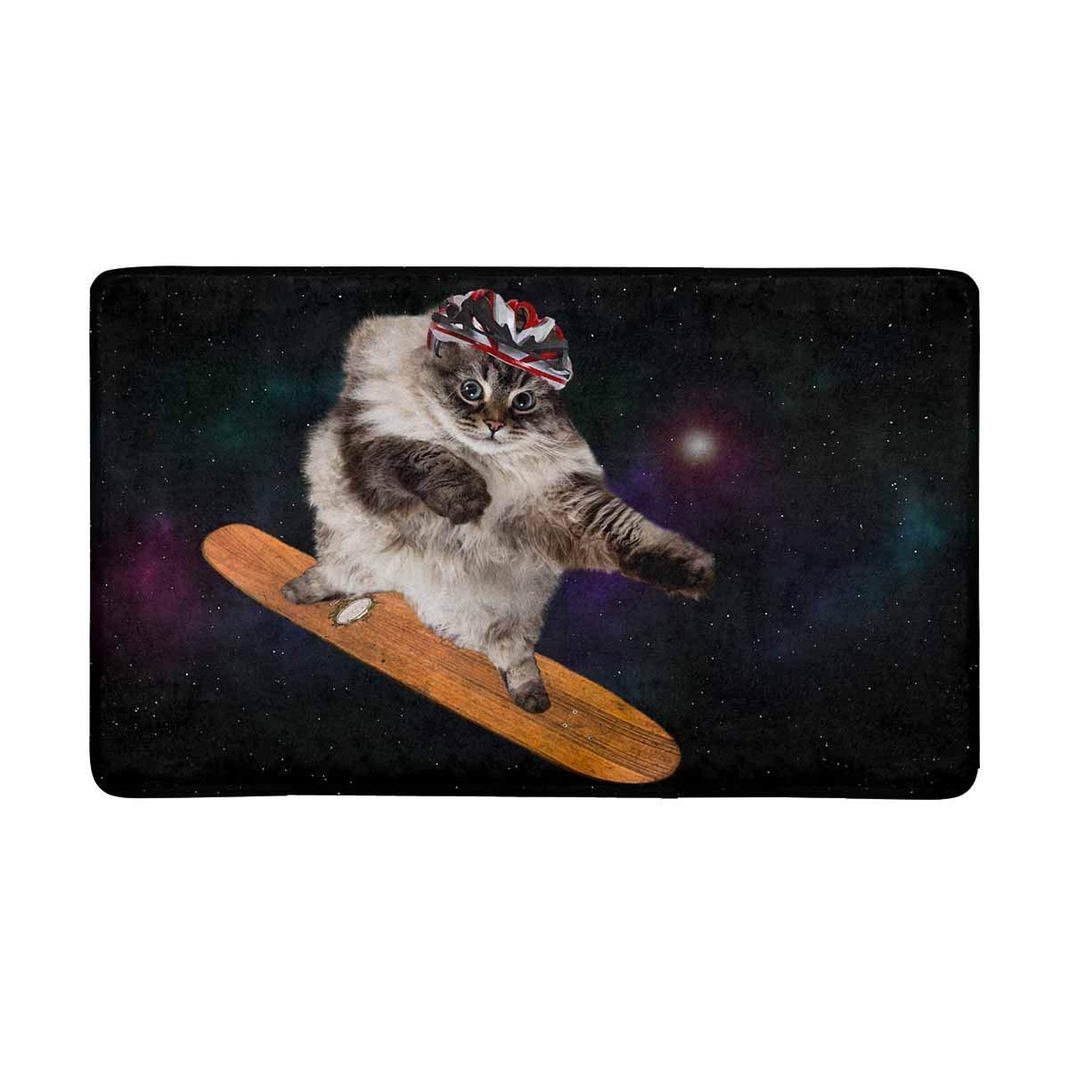 InterestPrint Hip Hop Cat Skateboard in Space Front Door Mat 30 X 18 Inches Welcome Doormat for Home, Indoor, Entrance, Kitchen, Patio
