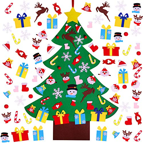 4FT DIY Felt Christmas Tree Set with 36pcs Ornaments - Wall Hanging Felt Xmas Tree for Kids Toddlers Christmas New Year Gift Decorations Party Supplier (Felt Christmas Fabric Tree)