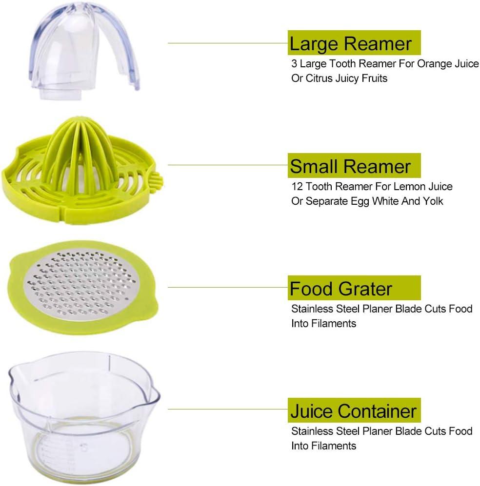 vert HDCOOL Presse-agrumes manuel presse-agrumes passe au lave-vaisselle presse-agrumes 4 en 1 multifonction presse /à fruits manuelle avec r/écipient gradu/é de 400 ml et 2 al/ésoirs
