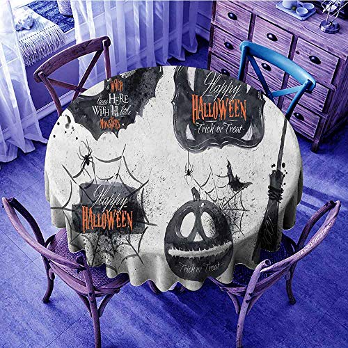 ScottDecor Vintage Halloween Circular Table Cover Halloween Symbols Happy Holiday Witch Lives Here Broomstick Spider Web Food Round Tablecloth Black White Diameter 54