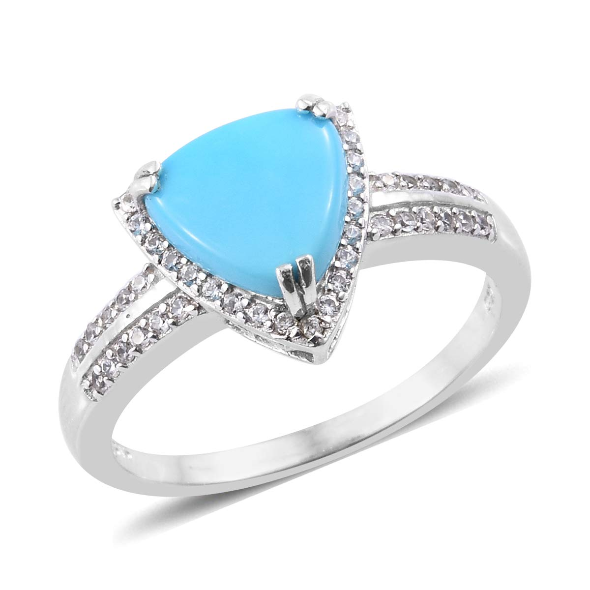 fea794d2e66539 Amazon.com: Halo Ring 925 Sterling Silver Platinum Plated Sleeping Beauty Turquoise  Zircon Gift Jewelry for Women Size 10: Jewelry
