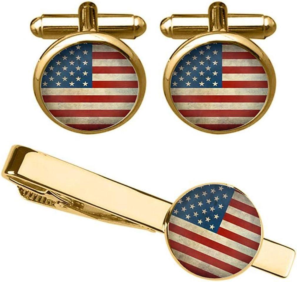 ZUNON American Flag Cufflinks USA Flag Cuff Links Gift for Man Gift for Boyfriend Groom Gift