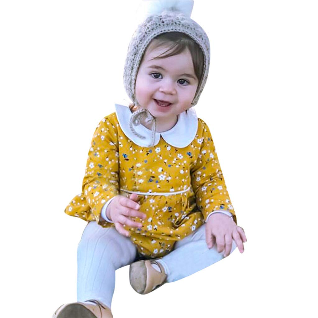Lanhui Summer Baby Girls Half Sleeve Floral Print Jumpsuit Infant Romper Clothes
