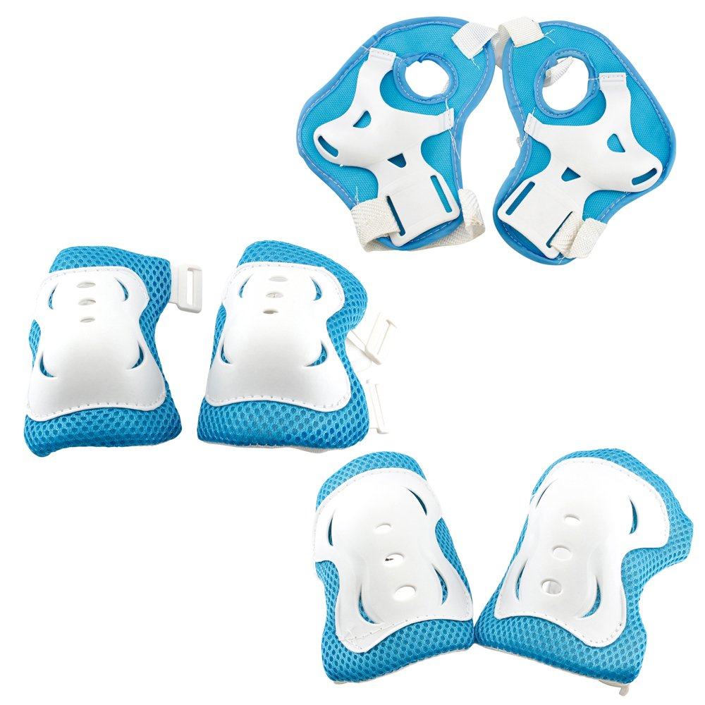 Simply Silver - 6pcs Elbow Knee Gear Pads - 6pcs Elbow Knee Wrist Protective Guard Safety Gear pads skate bicycle Kid Youth -