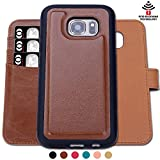 SHANSHUI Flip Case Compatible Sumsung Galaxy S7 Detachable PU Leather RFID Wallet Case (Brown-S7)