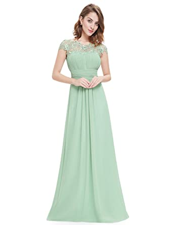 Ever-Pretty Womens Cap Sleeve Lace Neckline Ruched Bust Evening ...