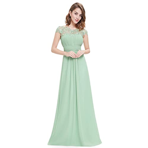 Ever Pretty Womens Lacey Neckline Open Back Ruched Bust Evening Dress 09993