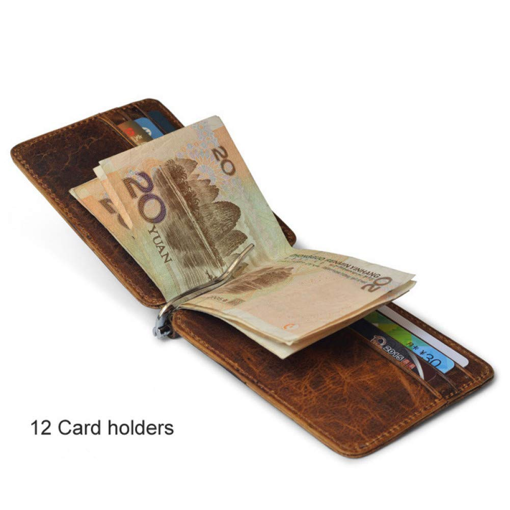 KHGUDS New MenS Genuine Leather Wallet Small Purse Slim Card Case Slim Holder For Money Cash Metal Clamp