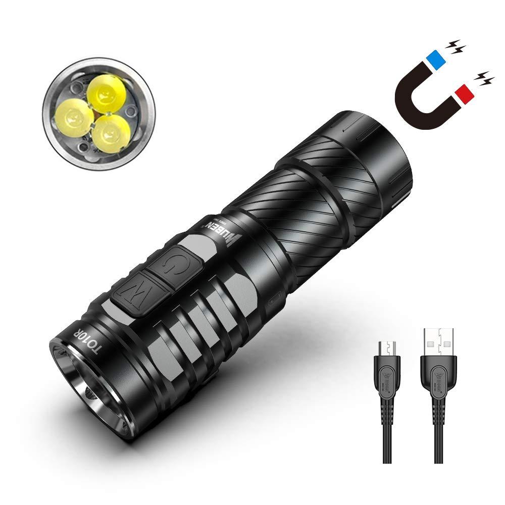 磁気強力なトーチライト、Wuben TO10R 3 *クリー族XP-G3 USB充電式LED、防水IPX8 5500K CRIハイ、バッテリー付きポータブルEDC懐中電灯、マグネット付きテール B07JWDB6RX