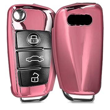 kwmobile Funda para Llave Plegable de 3 Botones para Coche Audi - Carcasa Suave de TPU para Llaves - Cover de Mando y Control de Auto en Rosa Oro ...