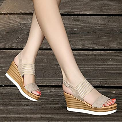 013722253ee1 GTVERNH Summer Sandals Female Comfortable All-Match Muffin Thick Soles 8Cm High  Heels Waterproof Wedges