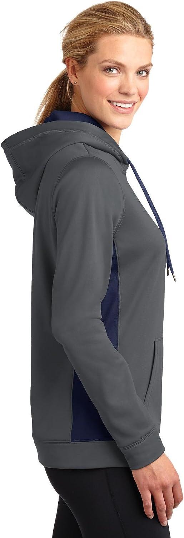 Sport-Tek Womens Sport Wick Fleece Colorblock Hooded